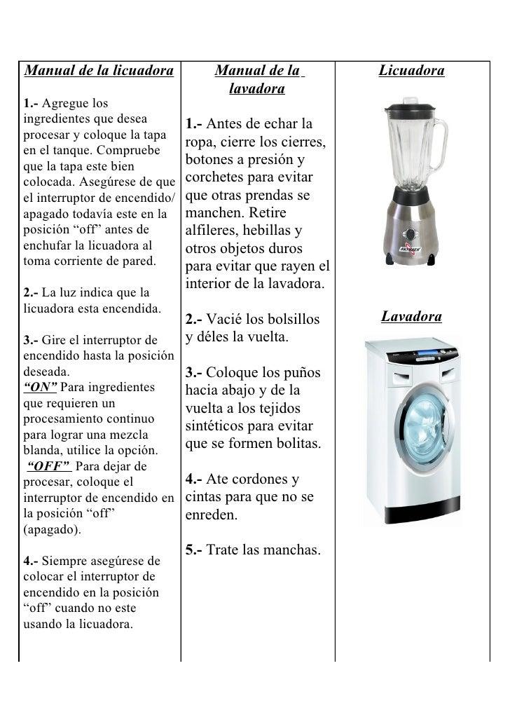 Manual de la licuadora              Manual de la           Licuadora                                      lavadora 1.- Agr...