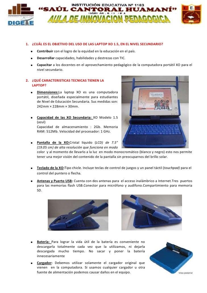 Manual de laptop xo 1.5  secundaria