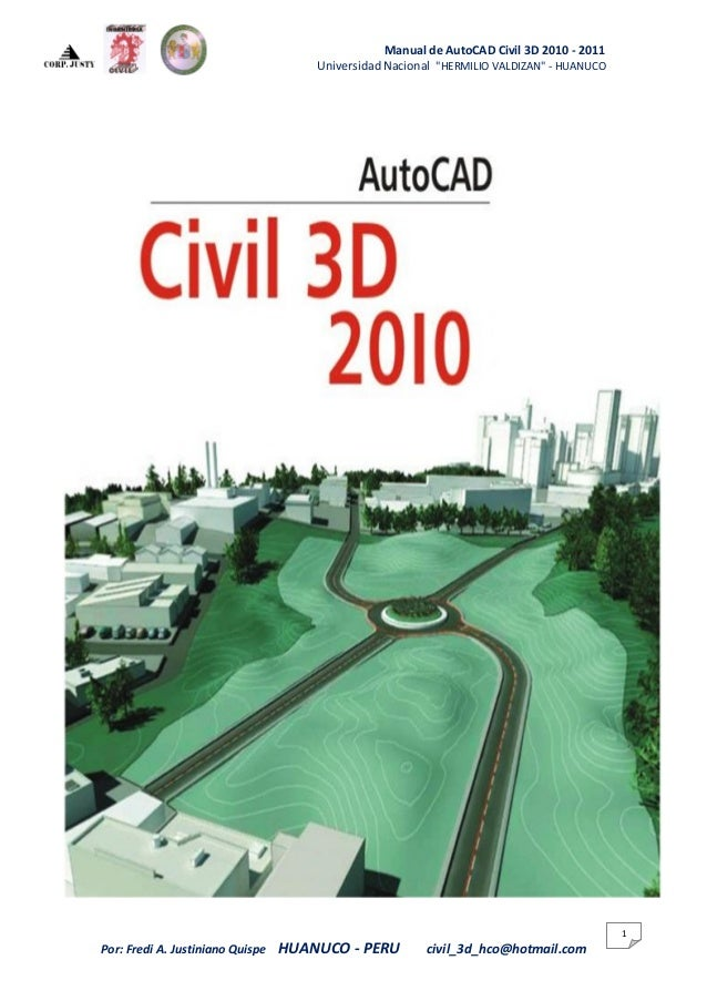 "Manual de AutoCAD Civil 3D 2010 - 2011                                      Universidad Nacional ""HERMILIO VALDIZAN"" - HUA..."