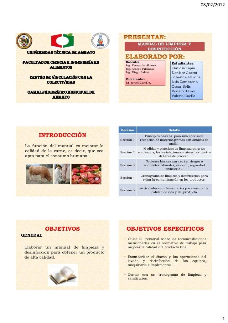Manual de limpieza y desinfecci n 2 listo for Limpieza y desinfeccion de equipos