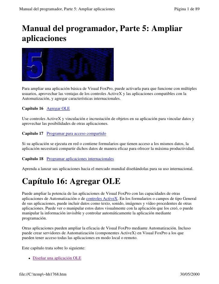 Manual del programador, Parte 5: Ampliar aplicaciones                                    Página 1 de 89 Manual del program...