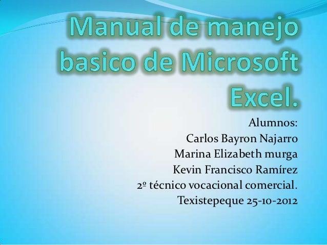 Alumnos:          Carlos Bayron Najarro        Marina Elizabeth murga       Kevin Francisco Ramírez2º técnico vocacional c...