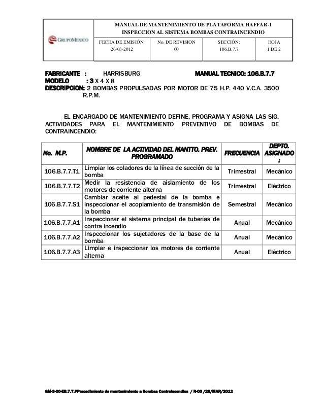 MANUAL DE MANTENIMIENTO DE PLATAFORMA HAFFAR-1                                   INSPECCION AL SISTEMA BOMBAS CONTRAINCEND...