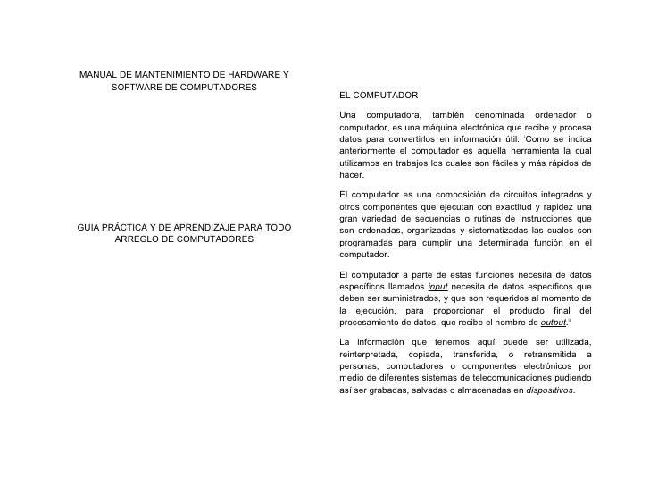 MANUAL DE MANTENIMIENTO DE HARDWARE Y      SOFTWARE DE COMPUTADORES                                            EL COMPUTAD...