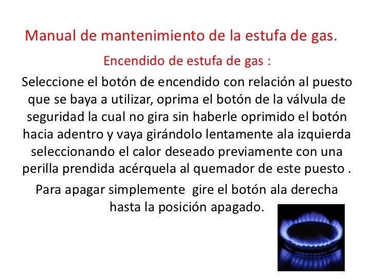 manual de mantenimiento de la estufa de gas