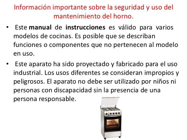 Manual de mantenimiento de la estufa de gas for Utensilios de cocina y sus funciones pdf