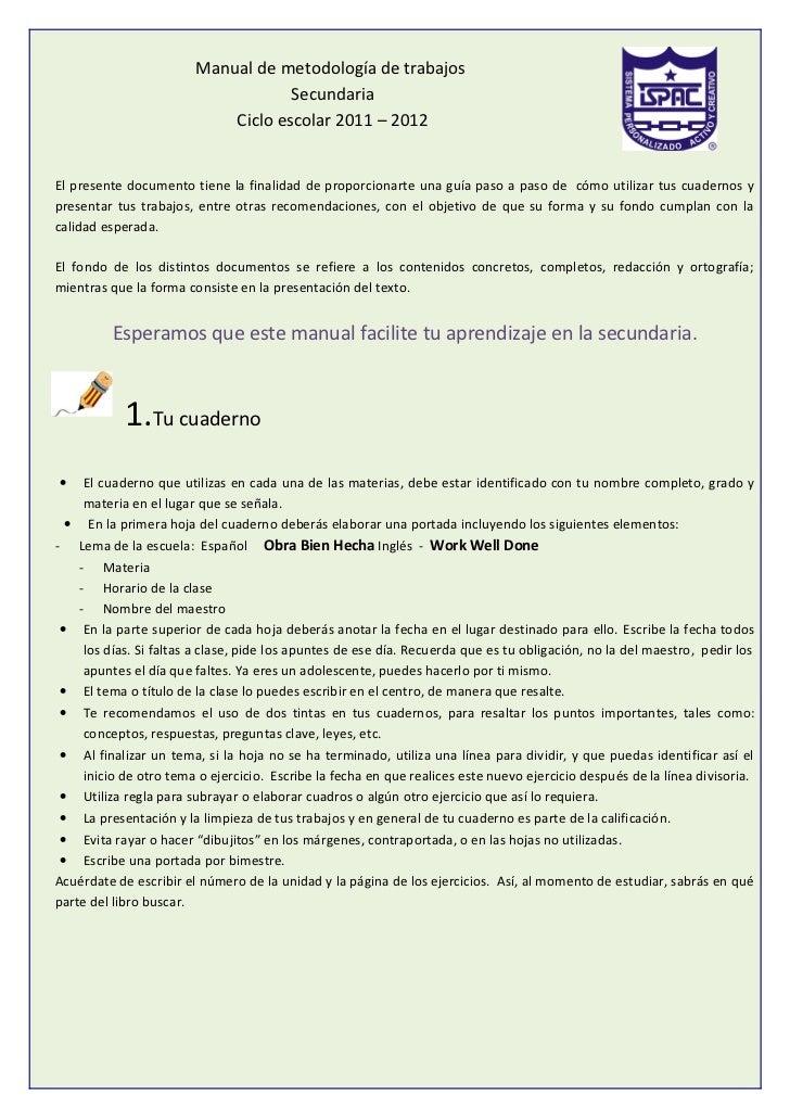 Manual de metodología de trabajos                                    Secundaria                            Ciclo escolar 2...