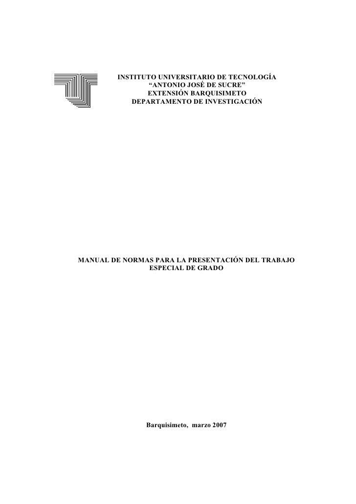 """INSTITUTO UNIVERSITARIO DE TECNOLOGÍA                """"ANTONIO JOSÉ DE SUCRE""""               EXTENSIÓN BARQUISIMETO         ..."""