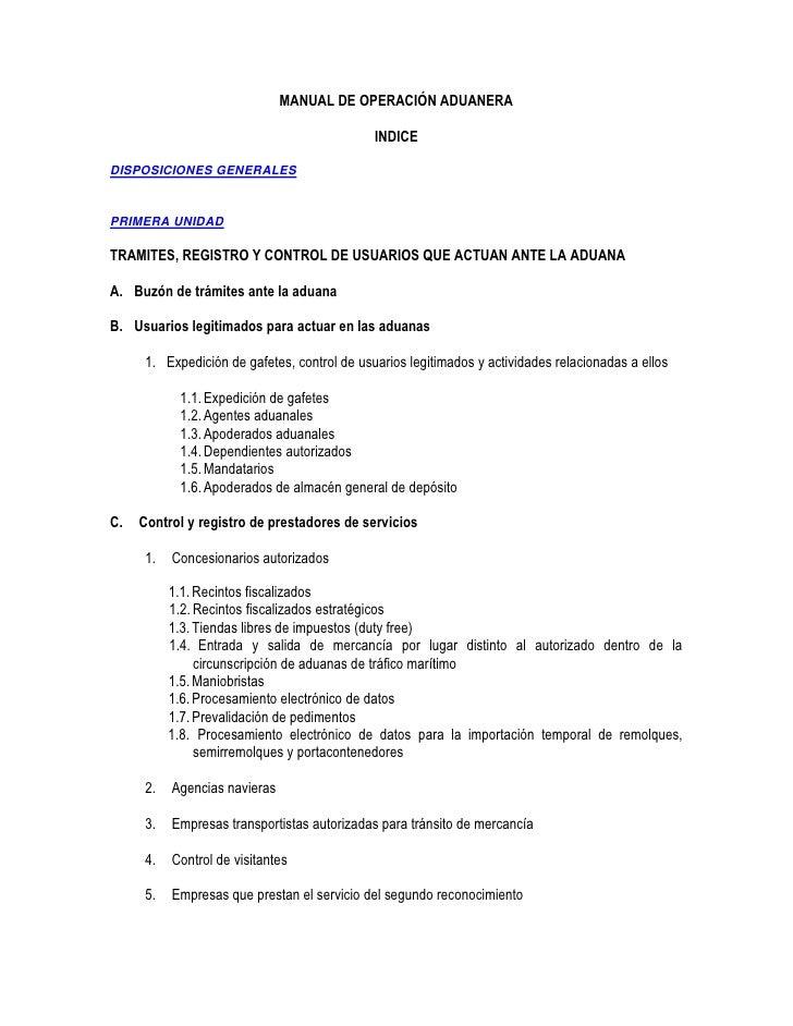 Manual de operaci n aduanera 2011 for Manual de operaciones de un restaurante ejemplo