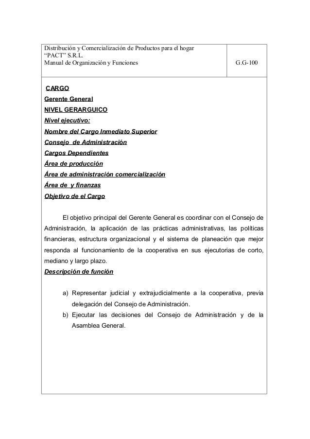"""Distribución y Comercialización de Productos para el hogar""""PACT"""" S.R.L.Manual de Organización y Funciones                 ..."""