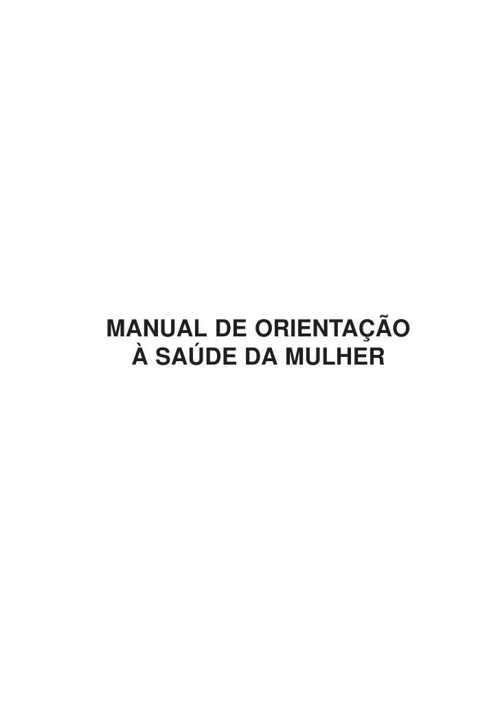 Manual de orientação a saúde da mulher