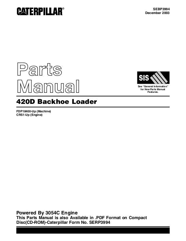 420d cat backhoe parts manual