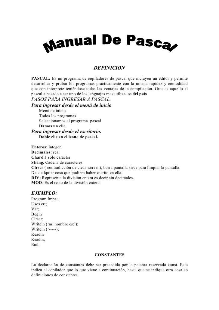 Manual De Pascal