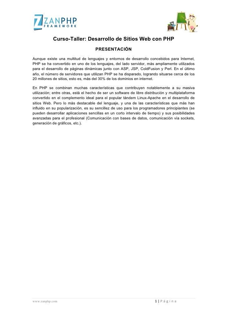 Curso-Taller: Desarrollo de Sitios Web con PHP   ...