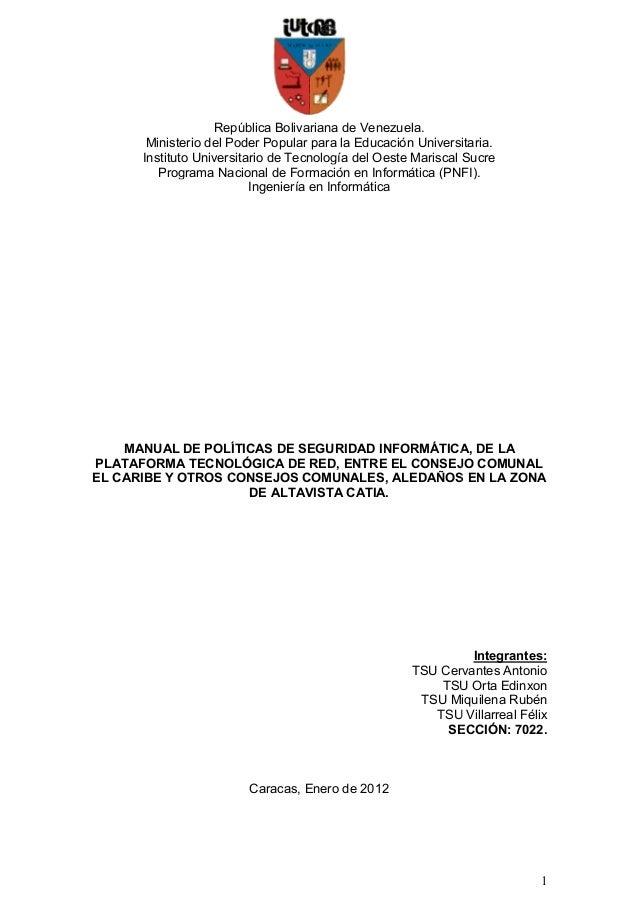 República Bolivariana de Venezuela.       Ministerio del Poder Popular para la Educación Universitaria.      Instituto Uni...