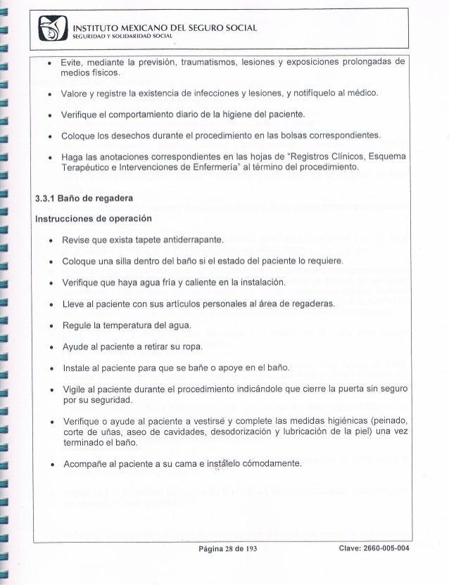 Baño Regadera Enfermeria:Manual de procedimientos 2012 del HGZ No 58