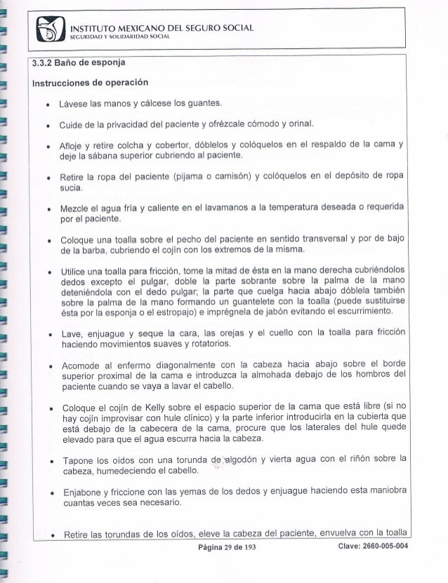 Baño De Regadera Paciente:Manual de procedimientos 2012 del HGZ No 58