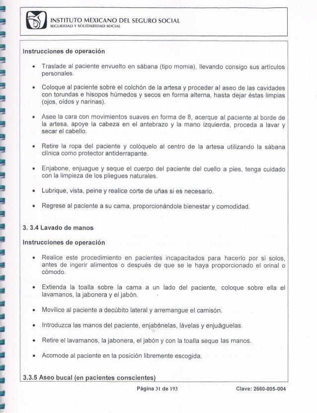 Baño De Regadera Artesa:Manual de procedimientos 2012 del HGZ No 58