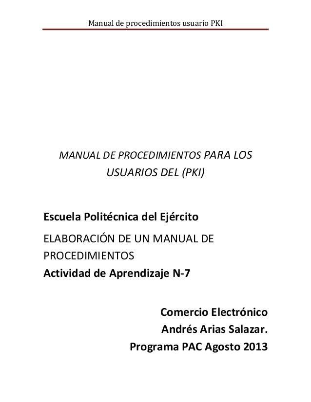 Manual de procedimientos para los usuarios pki