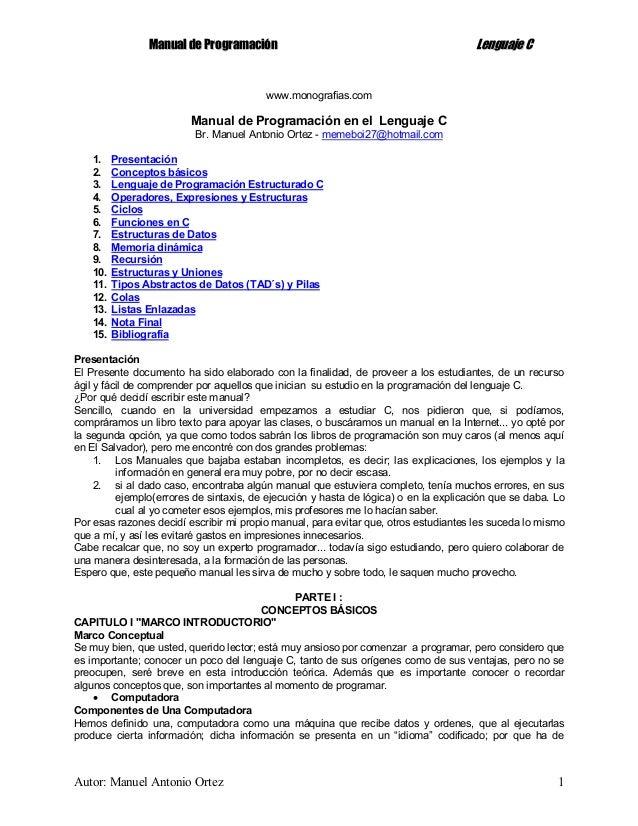 Manual de programacion en el lenguaje c