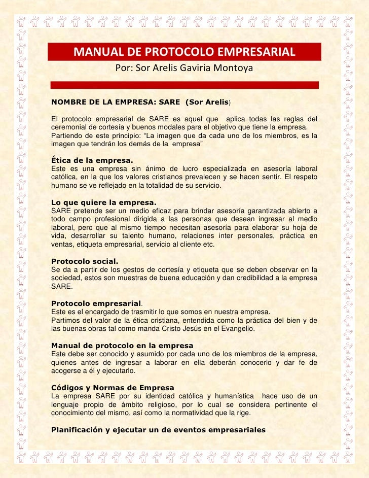 Manual de protocolo empresarial for Manual de procedimientos de un restaurante