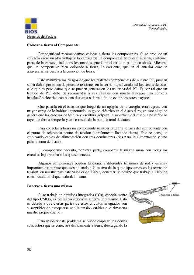 Manual de Reparación PC Generalidades 28 Fuentes de Poder: Colocar a tierra al Componente Por seguridad recomendamos coloc...