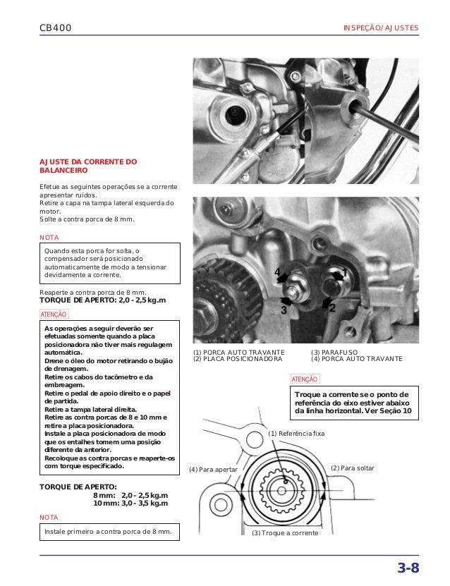 Manual de serviço cb400 ajuste