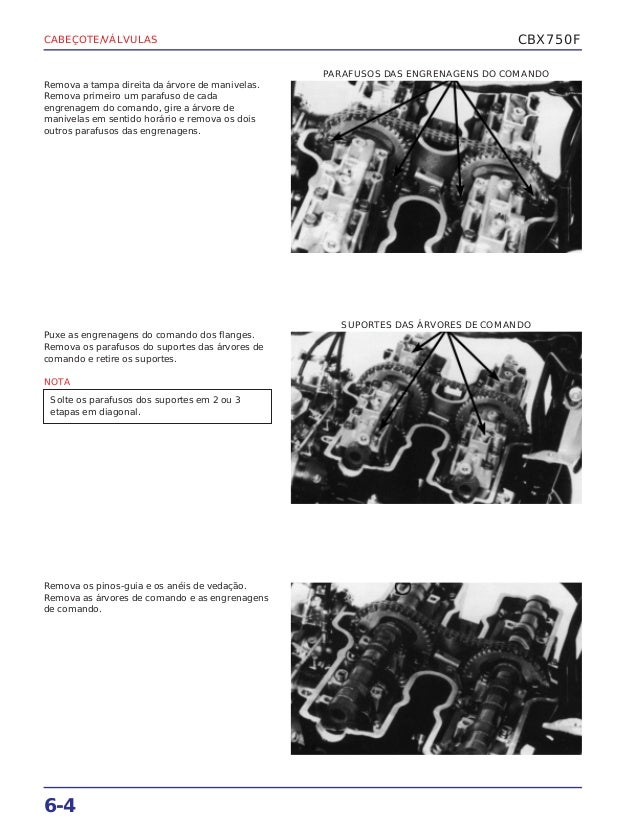 Manual de serviço cbx750 f (1990) cabecote