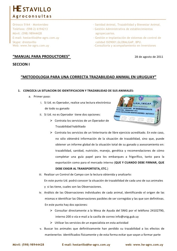 HE STAVILLOAgroconsultasOrinoco 5164 – Montevideo                                    - Sanidad Animal, Trazabilidad y Bien...