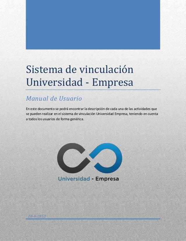 Manual de usuario de sistema de vinculación Universidad Empresa