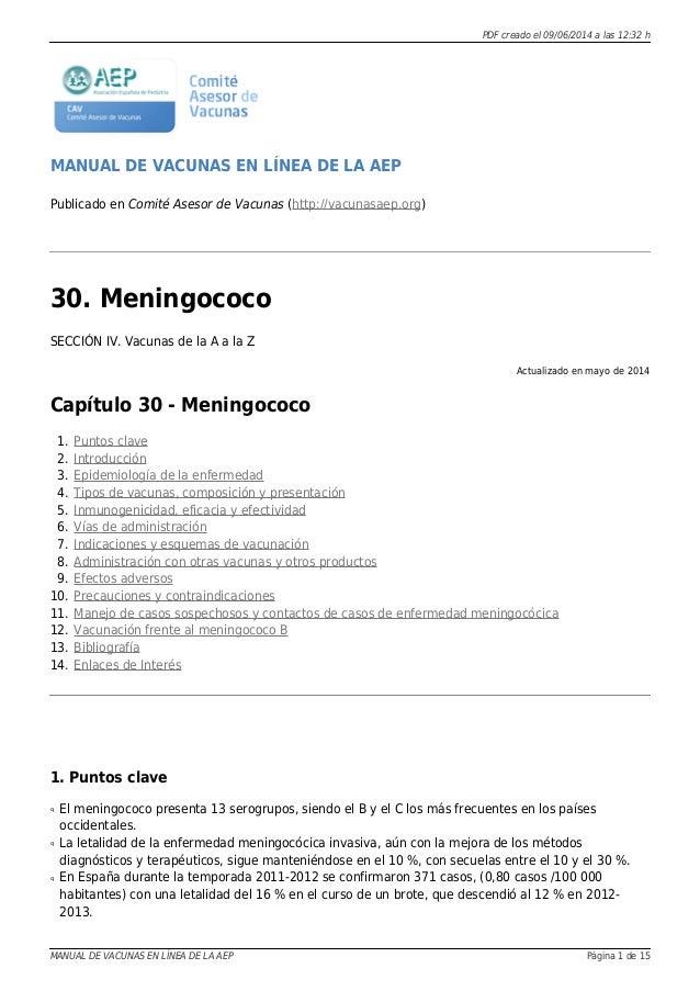 PDF creado el 09/06/2014 a las 12:32 h MANUAL DE VACUNAS EN LÍNEA DE LA AEP Publicado en Comité Asesor de Vacunas (http://...