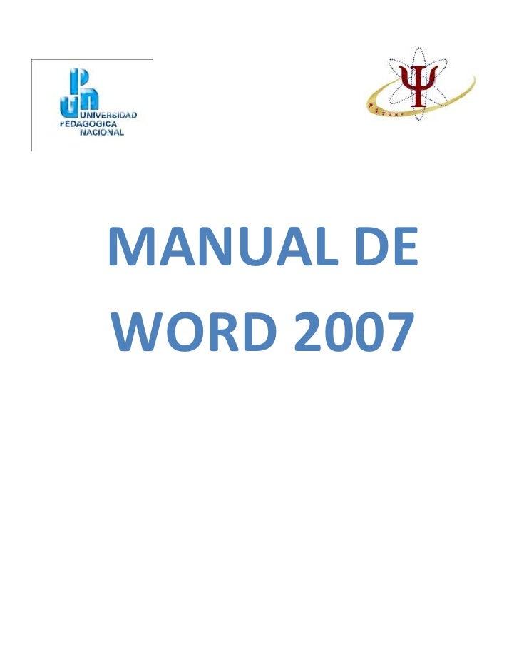 MANUAL DEWORD 2007