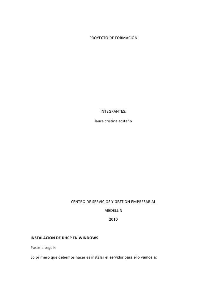 PROYECTO DE FORMACIÓN                                            INTEGRANTES:                                      laura c...