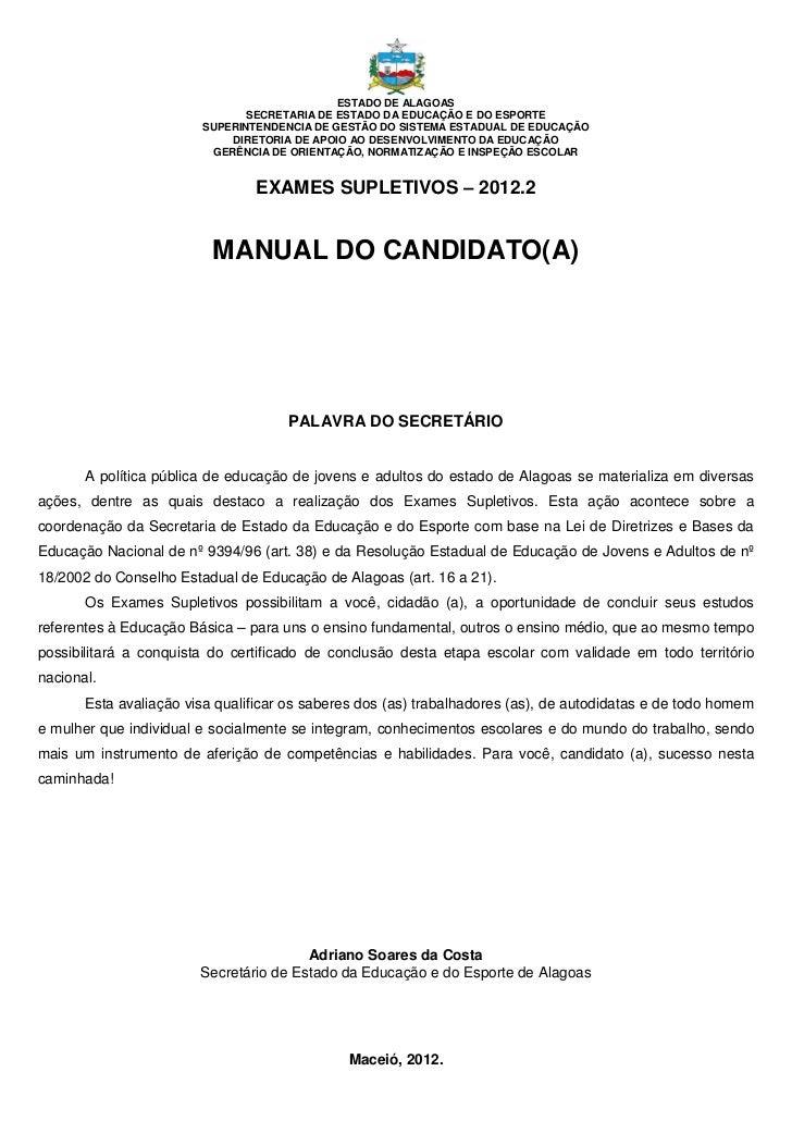 Manual do candidato supletivo 2012.2 ensino médio