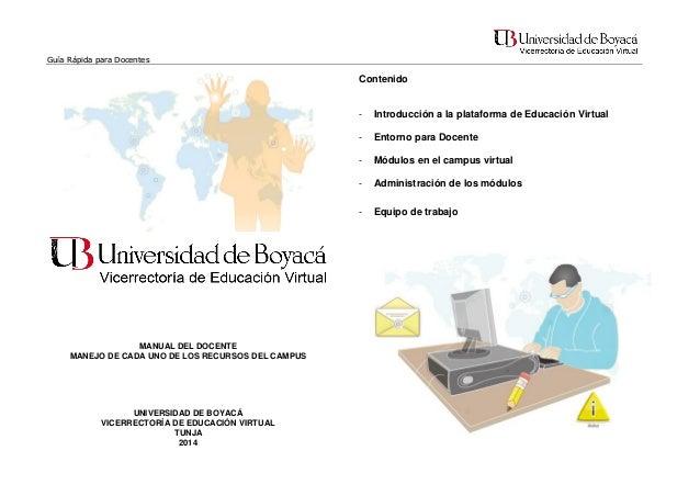 Guía Rápida para Docentes  Contenido  -  Módulos en el campus virtual  -  Administración de los módulos  -  UNIVERSIDAD DE...