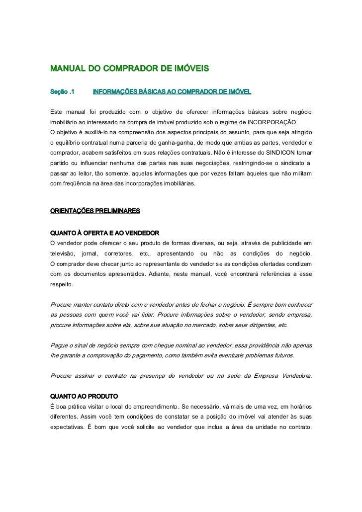 MANUALDOCOMPRADORDEIMÓVEISSeção.1        INFORMAÇÕESBÁSICASAOCOMPRADORDEIMÓVELEste manual foi produzido c...
