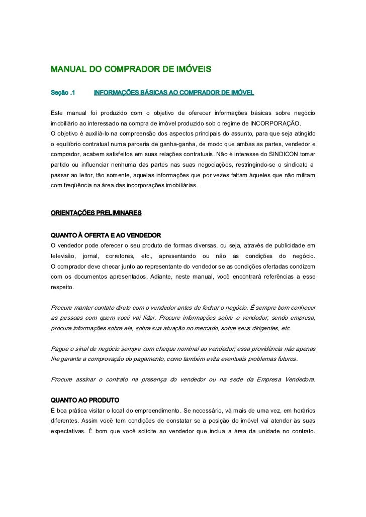 Manual do comprador de imoveis