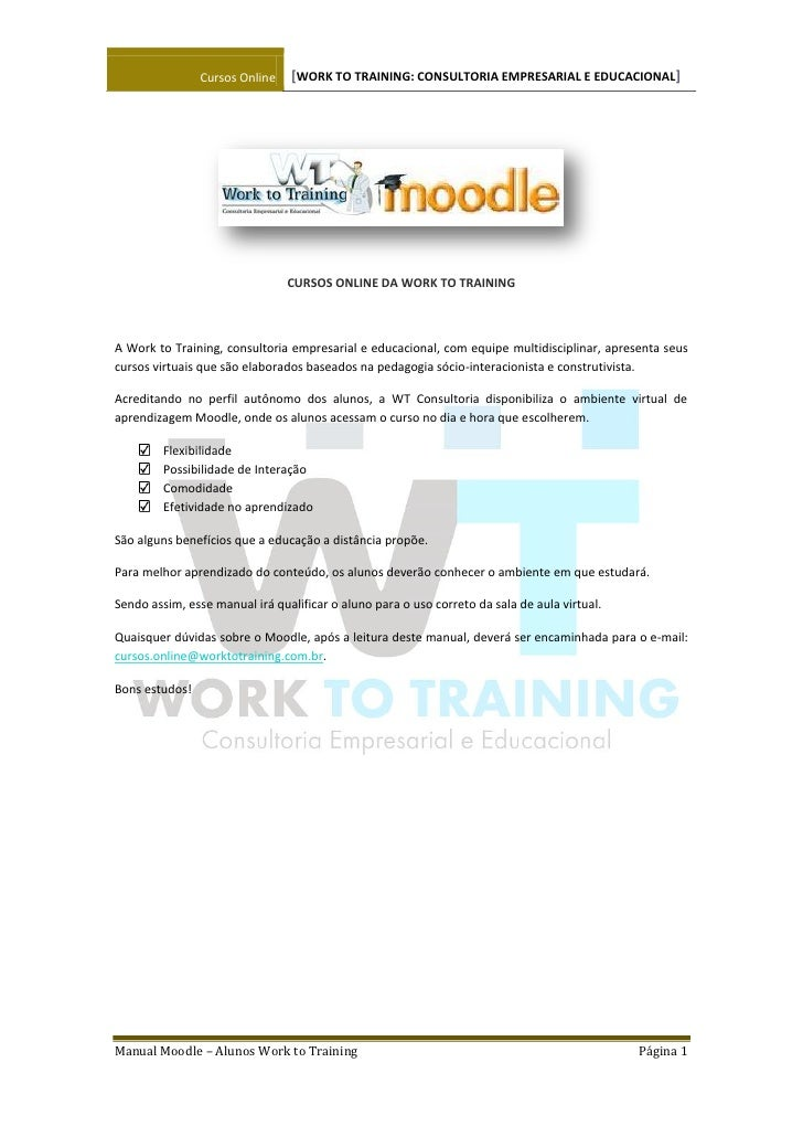 Manual Do Estudante Moodle Work To Training