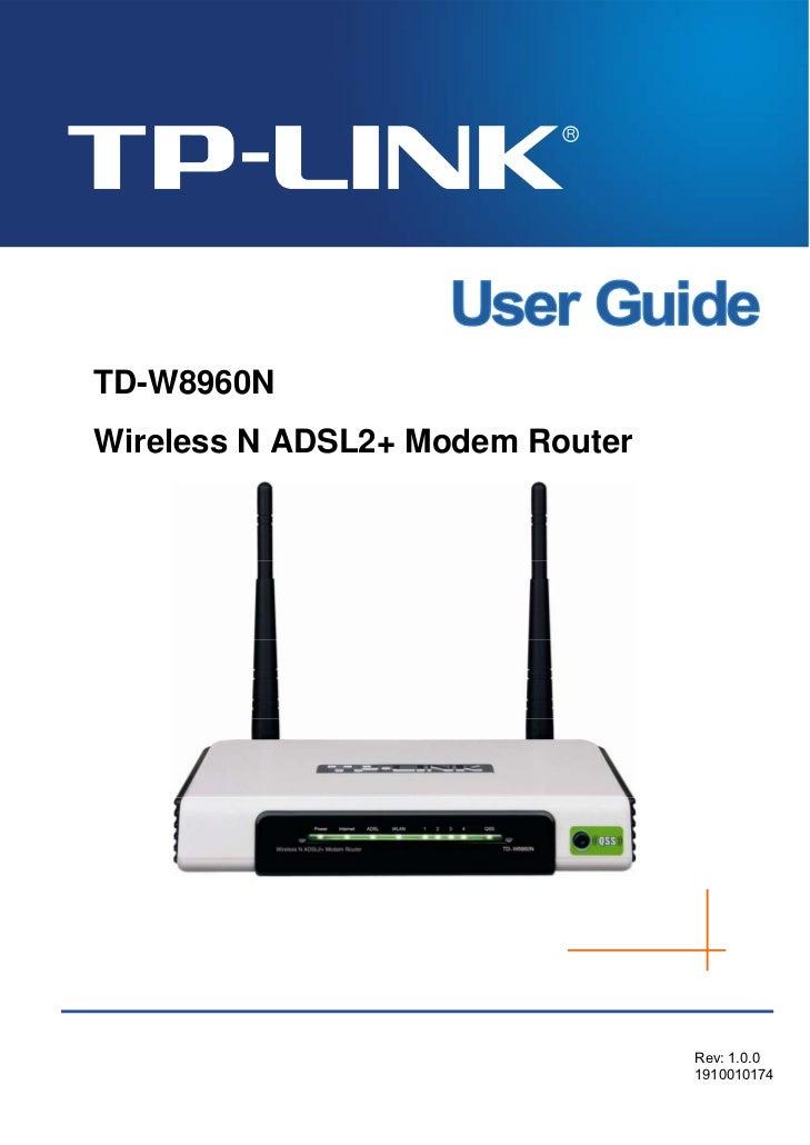 TD-W8960NWireless N ADSL2+ Modem Router                                 Rev: 1.0.0                                 1910010...