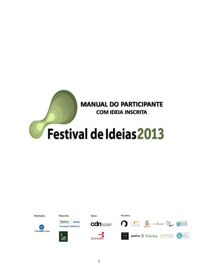 Manual do participante com ideia inscrita