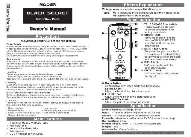 Manual do pedal Mooer MBSD Black Secret (PORTUGUÊS)