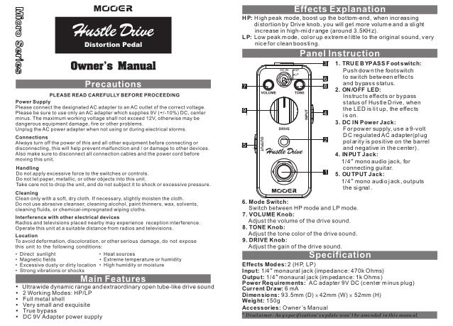 Manual do pedal mooer MHDD2 Hustle Drive (PORTUGUÊS)