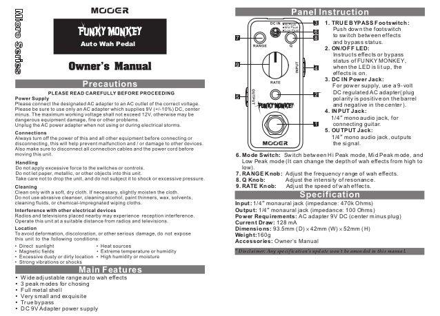 Manual do pedal Mooer MFT2 Funky Monkey (PORTUGUÊS)
