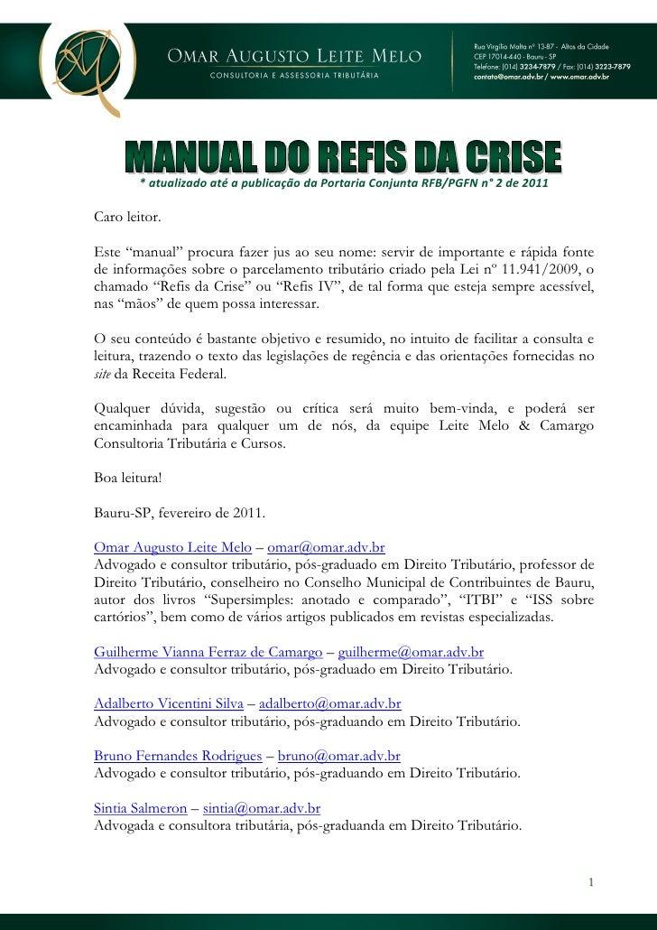 Manual do refis da crise v2 - atualizado