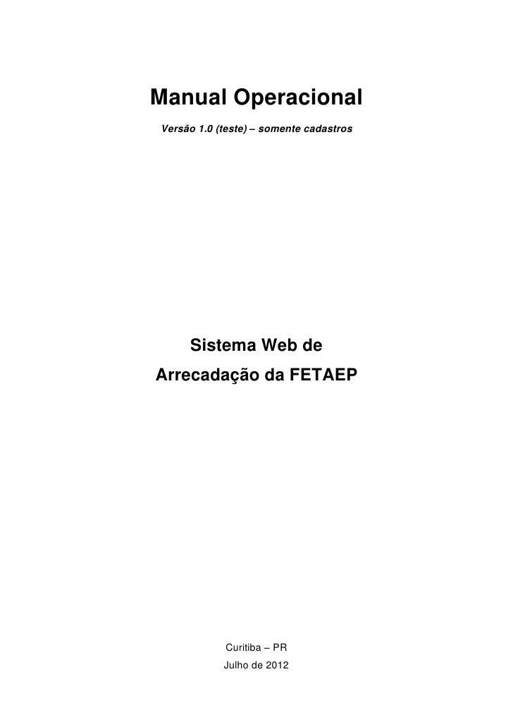 Manual do sistema web de arrecadação da FETAEP