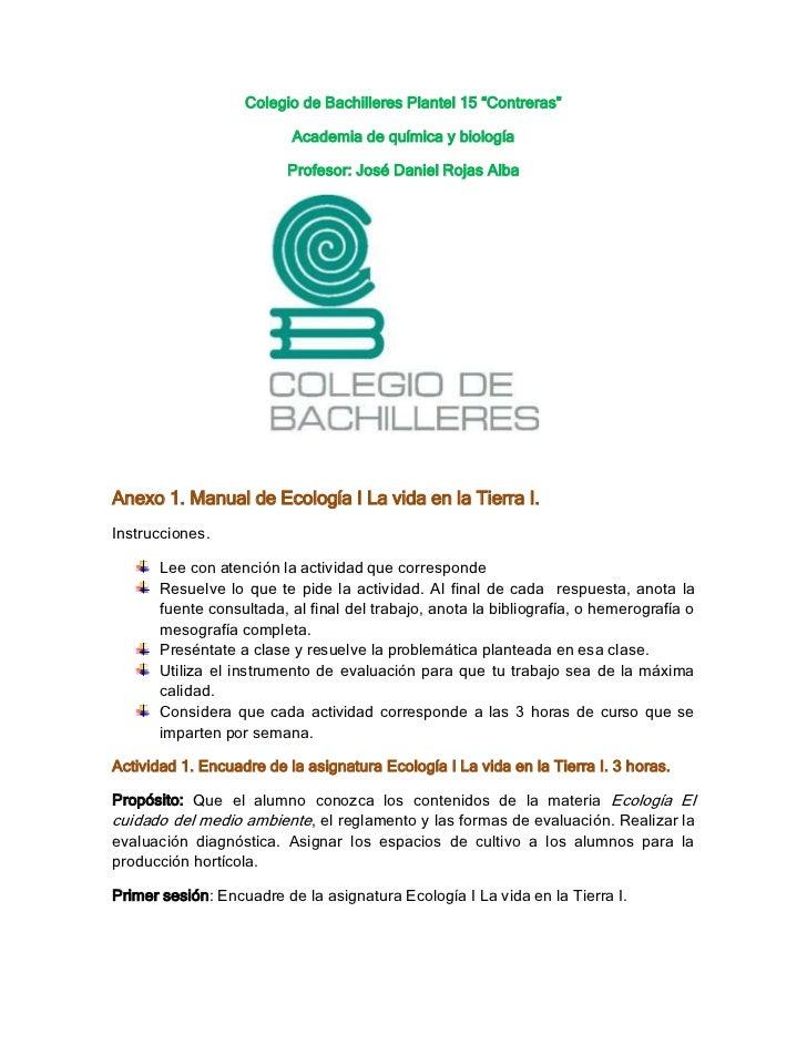 """Colegio de Bachilleres Plantel 15 """"Contreras""""                          Academia de química y biología                     ..."""
