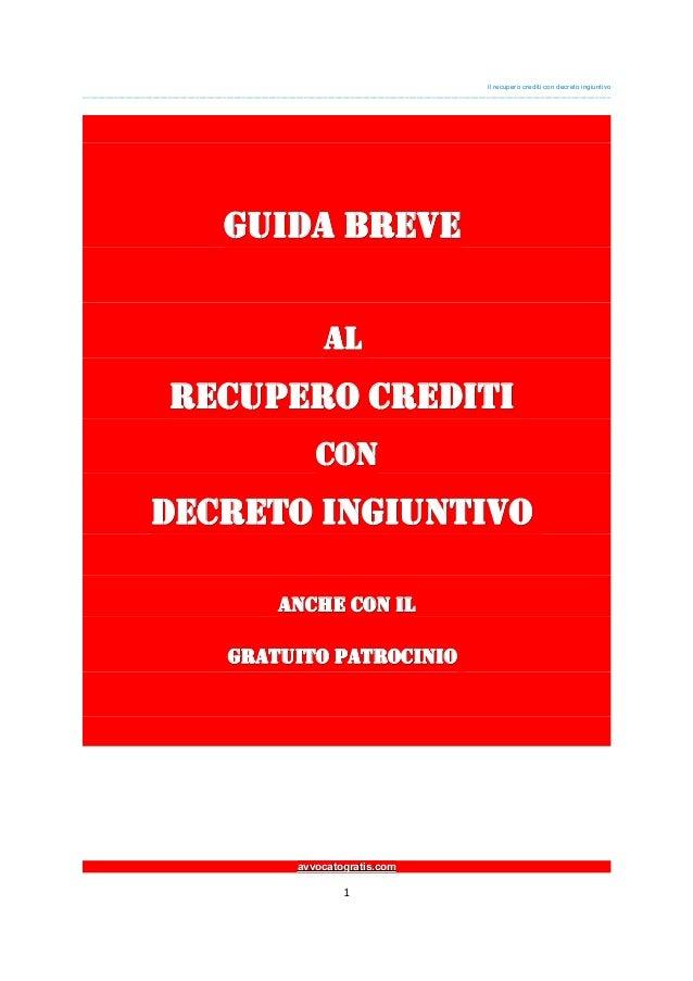 GUIDA Breve al RECUPERO CREDITI con DECRETO INGIUNTIVO