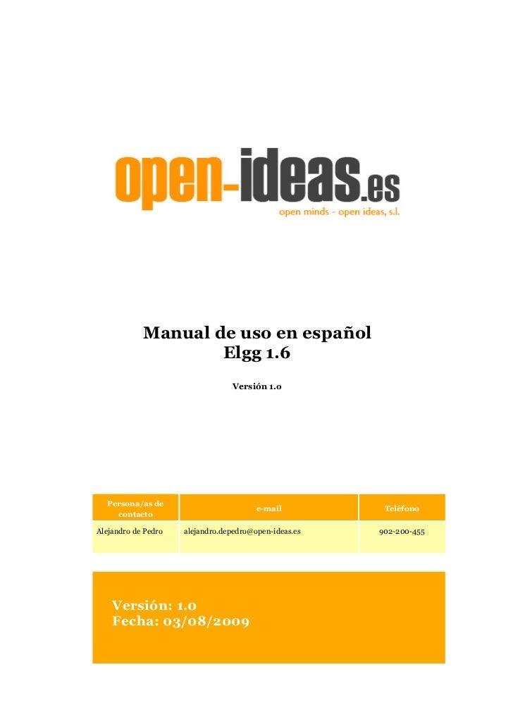 Manual de uso en español sobre Elgg