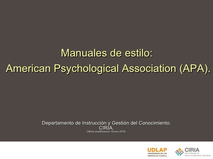Manuales de estilo: American Psychological Association (APA)