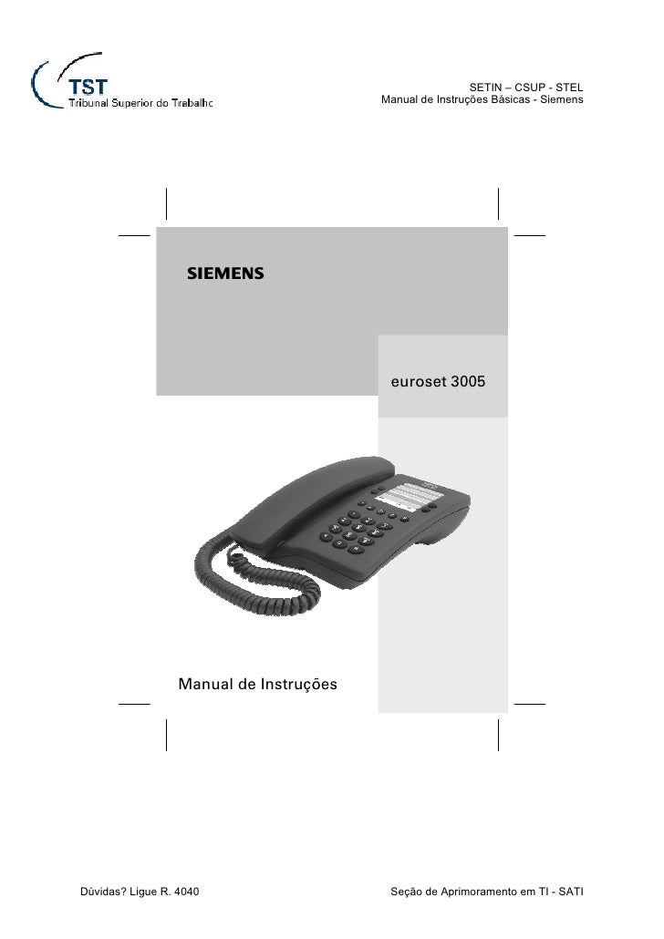 SETIN – CSUP - STEL                                         Manual de Instruções Básicas - Siemens                   s    ...